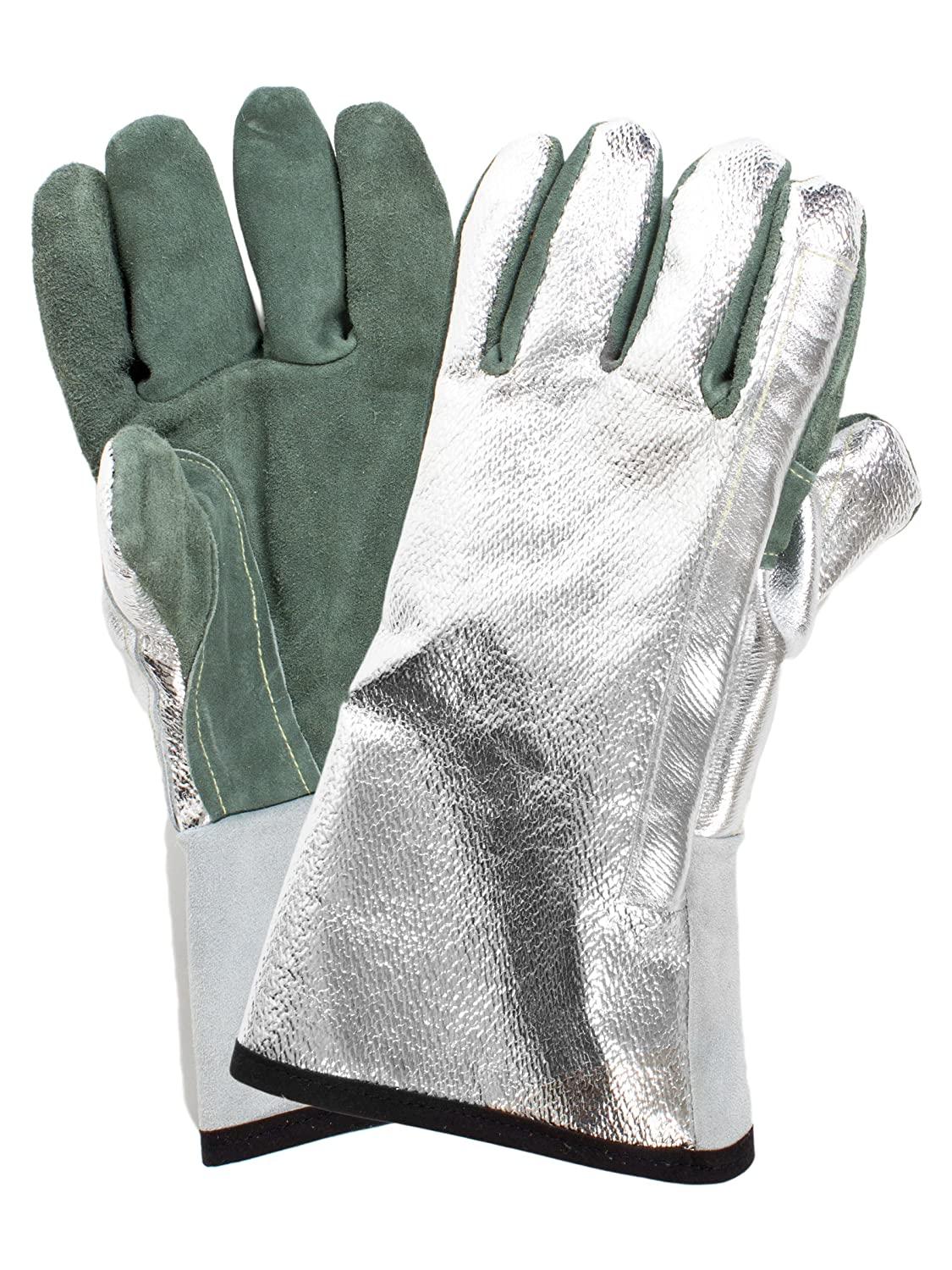 National Safety Apparel DJXGSP382 Fusion Carbon Kevlar Glove with Thermal Leather Palm, Regular, Aluminized Back/Green Palm by National Safety Apparel Inc B004HR92N8