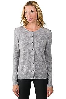 26c5435d913b95 JENNIE LIU Women's 100% Cashmere Button Front Long Sleeve Crewneck Cardigan  Sweater