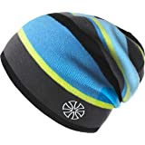 Botack Women Mens Beanie Hat Baggy Striped Knitted Hat Warm Skull Cap for Winter Walking Running Skiing Cycling