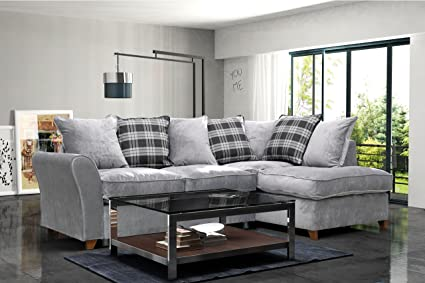 LoveSofas New Jasper Fabric Corner Sofa Right Hand Chaise Mist Light Grey  with Scatter Cushions