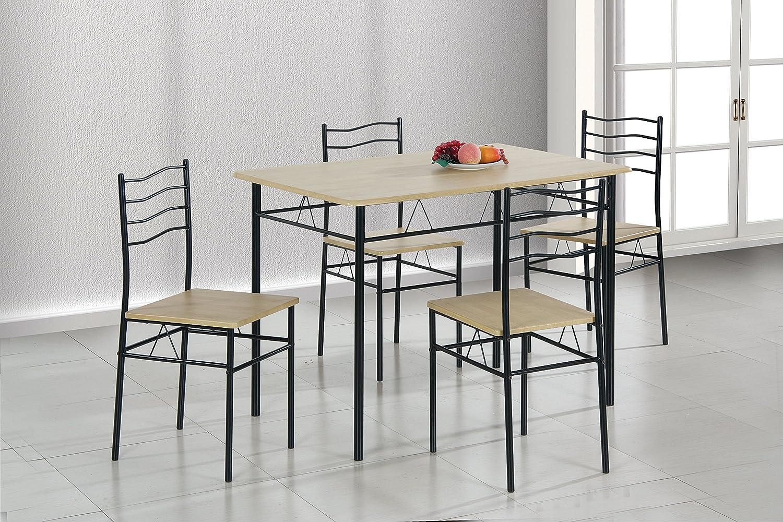 AVANTI TRENDSTORE - Gandria - Set con tavolo e 4 sedie in metallo e laminato di legno di quercia, ideale per la tua cucina, dimensioni LAP: tavolo 110x75x70 cm, sedie 36x82x44 cm