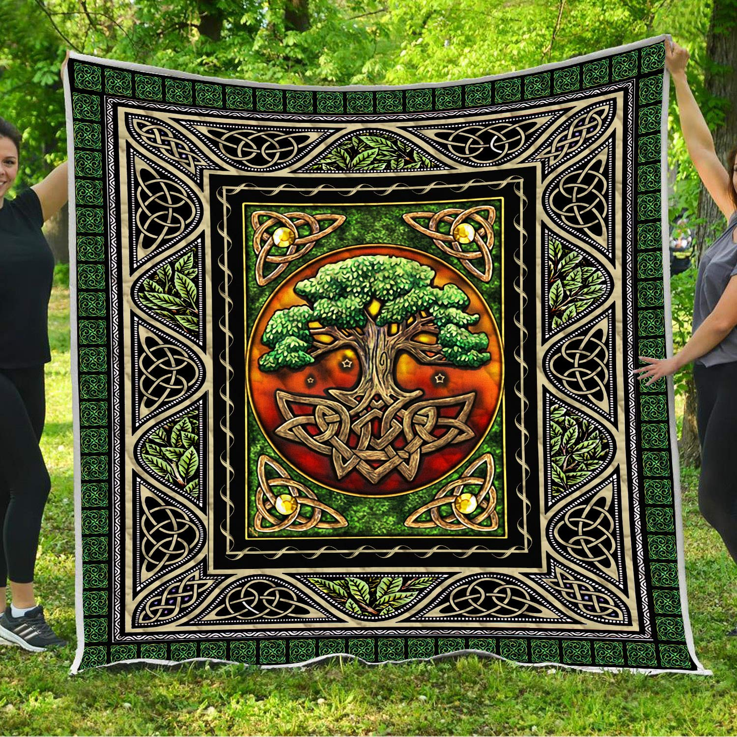 VTH Global Tree of Life Quilt Pattern Blanket Comforters with Reversible Cotton King Queen Full Twin Size Irish Celtic Trinity Knot Quilted Birthday Gifts for Men Women Dad Mom Boys Girls by VTH Global