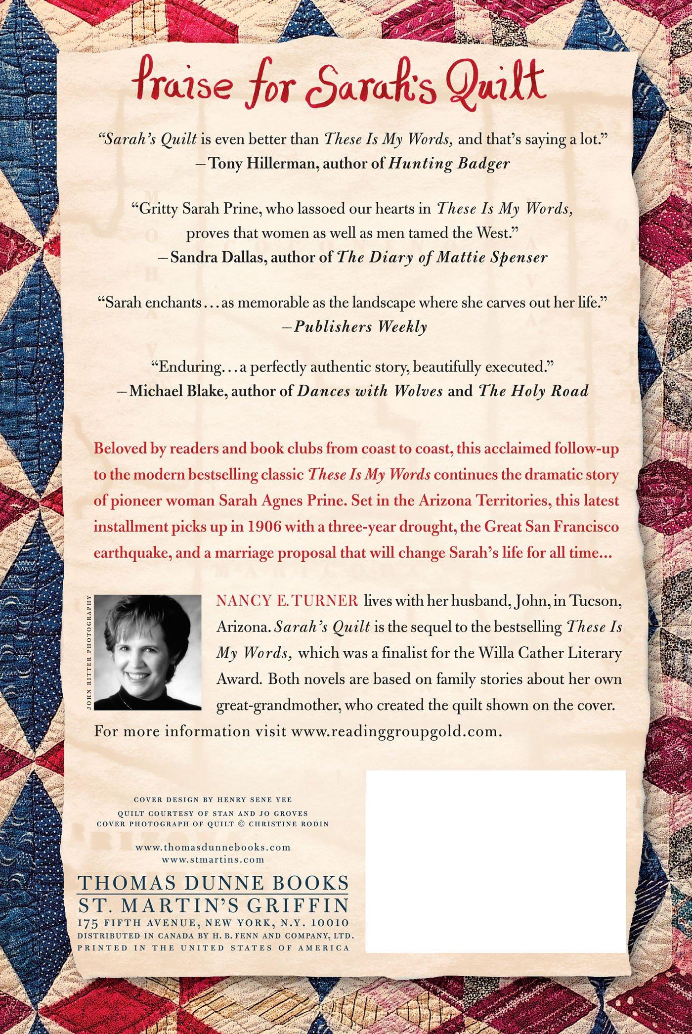 Sarah's Quilt: A Novel Of Sarah Agnes Prine And The Arizona Territories,  1906 (sarah Agnes Prine Series): Nancy E Turner: 9780312332631:  Amazon: Books