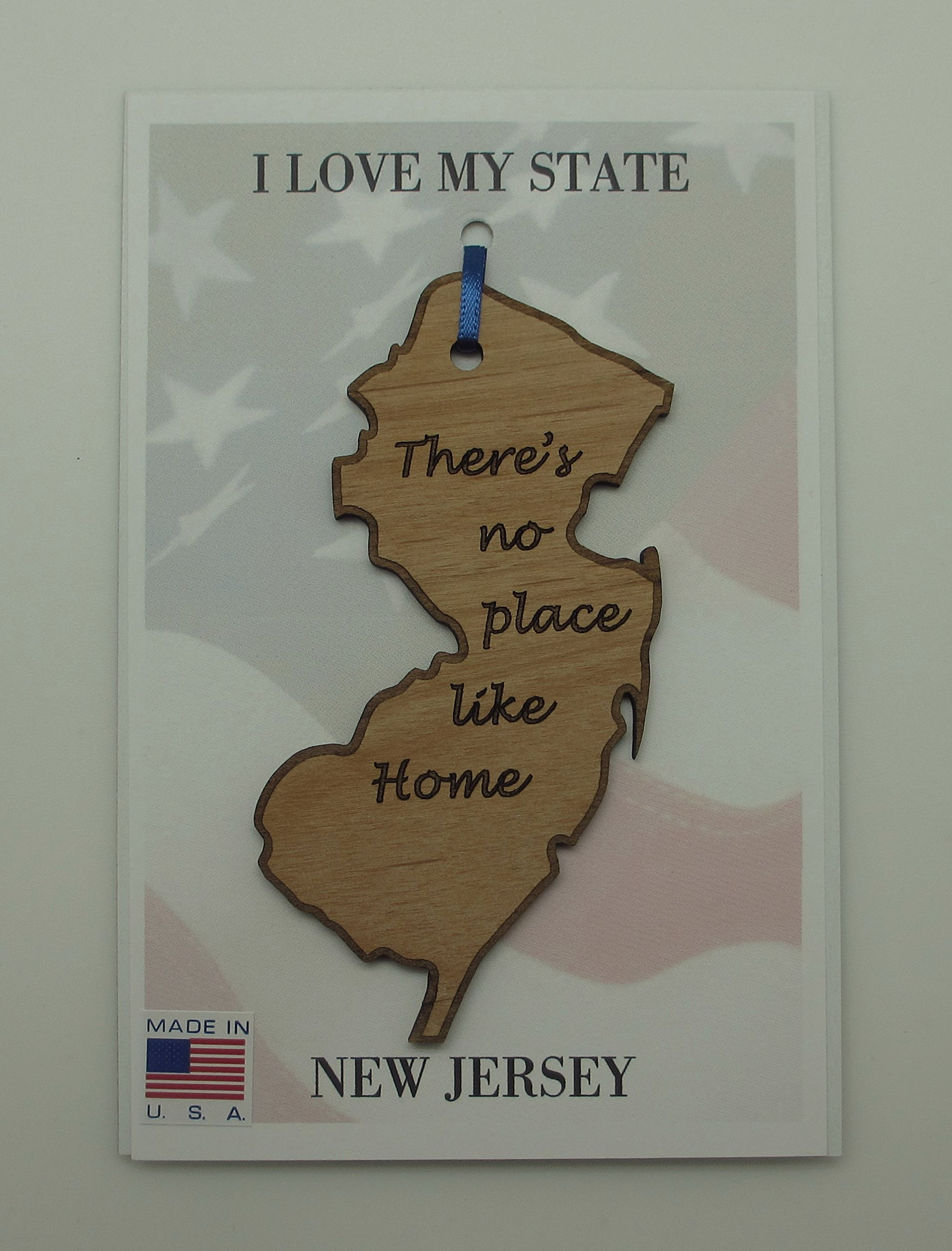 New Jersey State Wood Ornament There's No Place Like Home