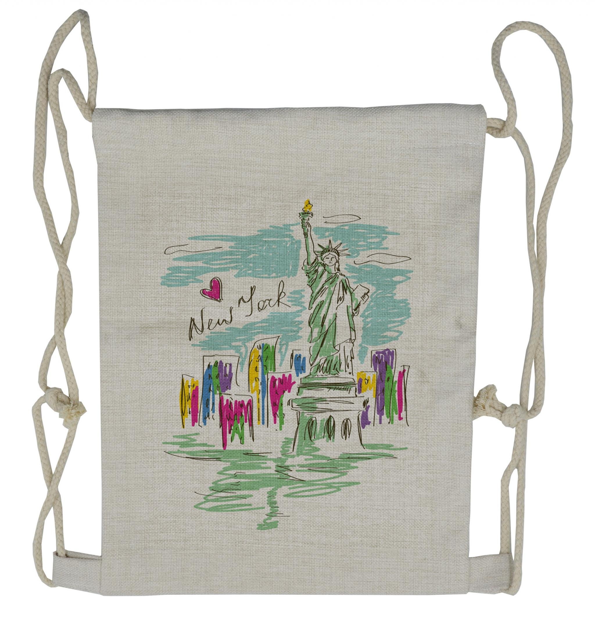 Lunarable City Drawstring Backpack, New York City Statue, Sackpack Bag