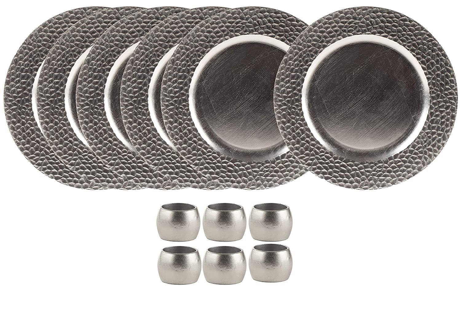 Round Charger Plates and Napkin Rings Set - 6-Piece 13-Inch Silver Charger Plates with 6-Piece Napkin Rings, For Special Events, Weddings, Banquets Juvale