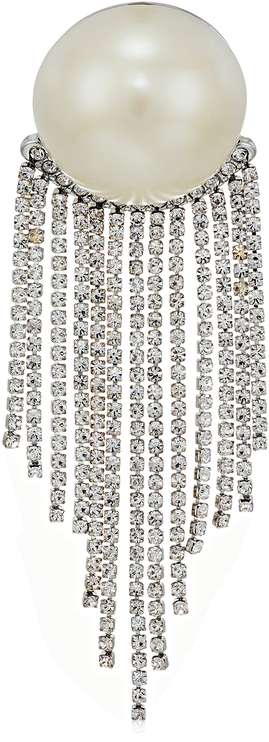 Carolee Grand Entrance Pearl with Rhinestone Fringe Brooch and Pin