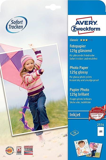 Avery España 2554 - Pack de 20 folios de papel fotográfico brillante para impresoras de inyección de tinta, 210 x 297 mm, color blanco