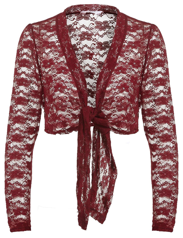 Parabler Damen Bolero Spitzen Strickjacke Festlich Kurz Cardigan Langarm Jacke Elegant Blazerjacke