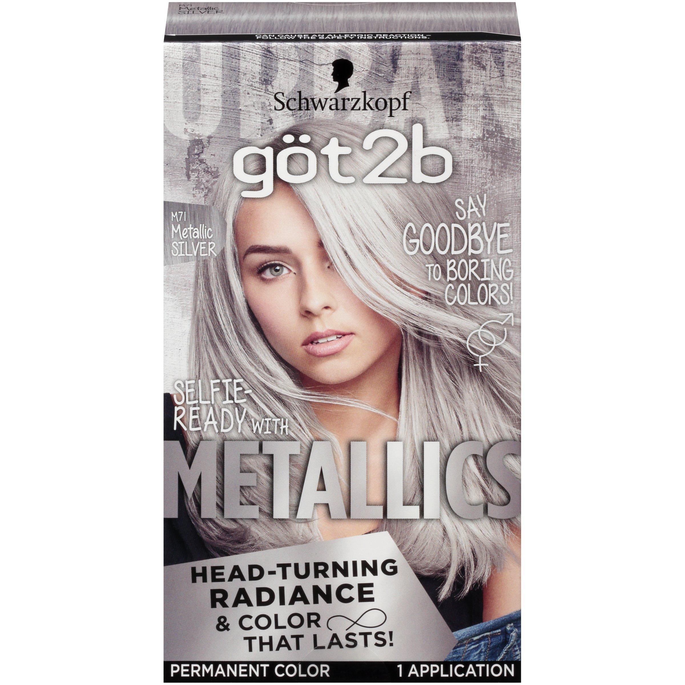 Got2b Metallic Permanent Hair Color, M71 Metallic Silver by Got2b