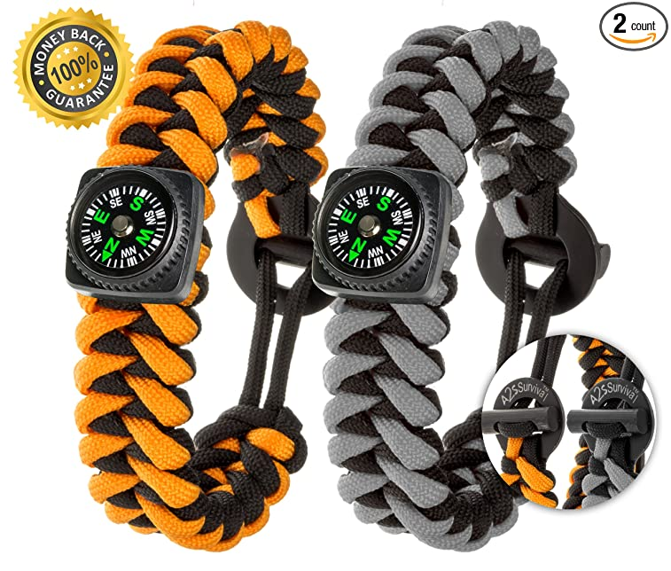 A2S Dare2 Survival Bracelet - Pack of 2 – Stylish Survival Gear Kit with Fire Starter, Emergency Knife, Compass (some variations) - for Camping Hiking Outdoors Emergency Preparedness