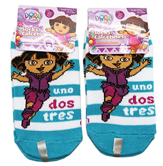 Dora the Explorer Uno Dos Tres Teal/White Striped Socks (2 Pairs, Size