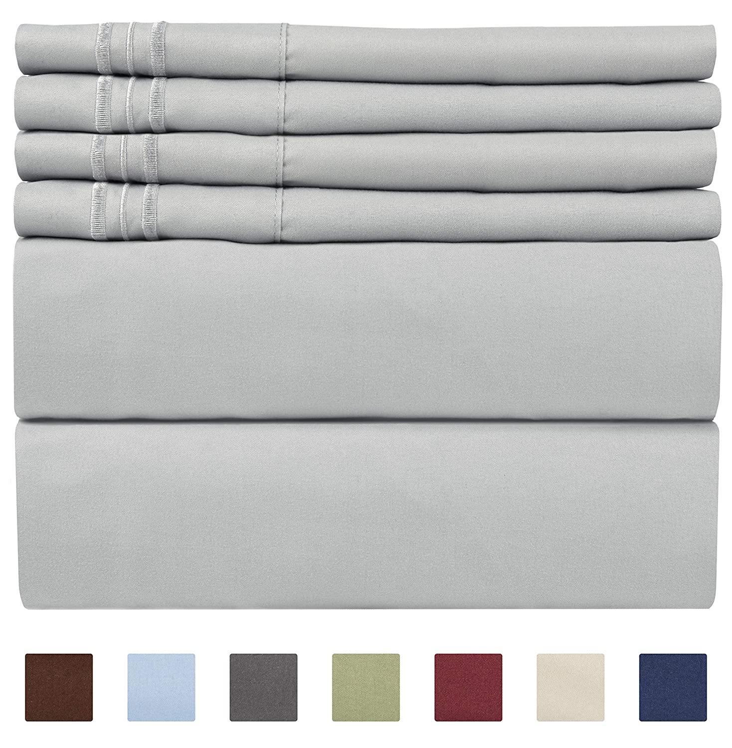 Full Size Sheet Set - 6 Piece Set - Hotel Luxury Bed Sheets - Extra Soft - Deep Pockets - Easy Fit - Breathable & Cooling Sheets - Wrinkle Free - Gray - Light Grey Bed Sheets - Fulls Sheets - 6 PC
