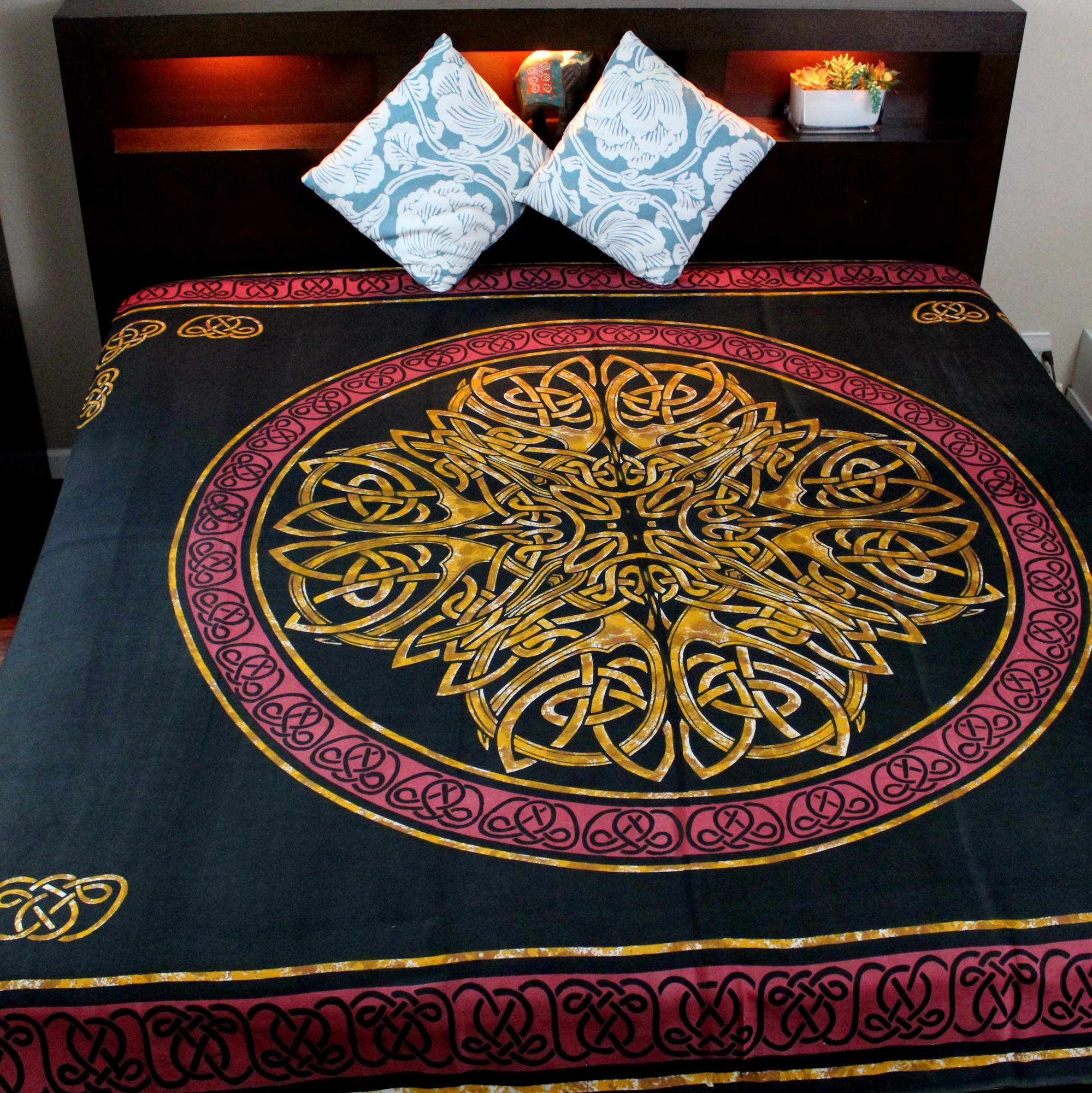 Handmade 100% Cotton Celtic Circular Knot Print Tapestry Bedspread Tablecloth Throw King 110x110 by India Arts (Image #2)