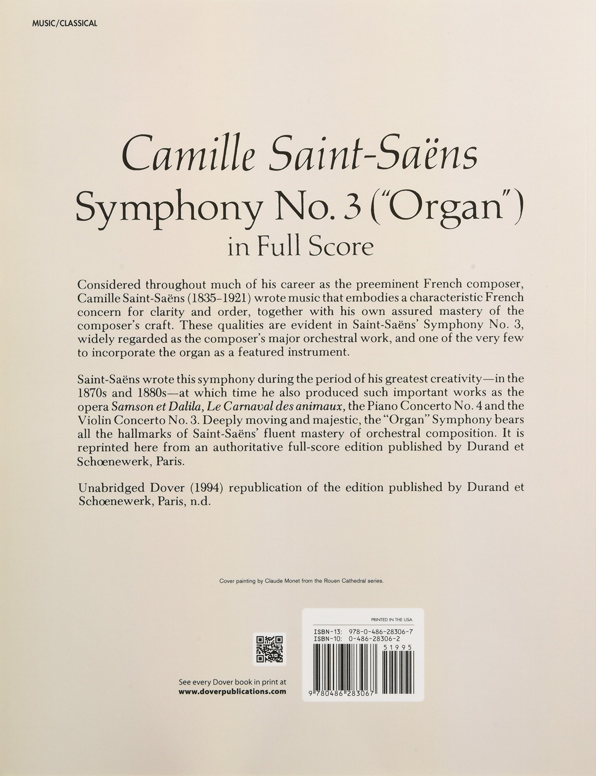 "3 (""Organ"") in Full Score: Camille Saint-Saëns: 0800759283064: Amazon.com:  Books"