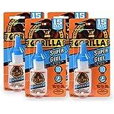 Gorilla Super Glue 15 Gram, Clear, (4 Pack)