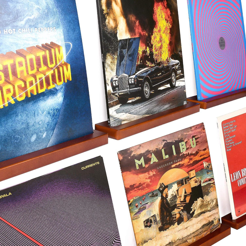 Karavella 6 Pc Vinyl Record Shelf Display; Beautiful Pine Wood Vinyl Record Wall Mount Floating Record Shelves for Albums; Vinyl Record Frame for Music Enthusiasts (Brown)
