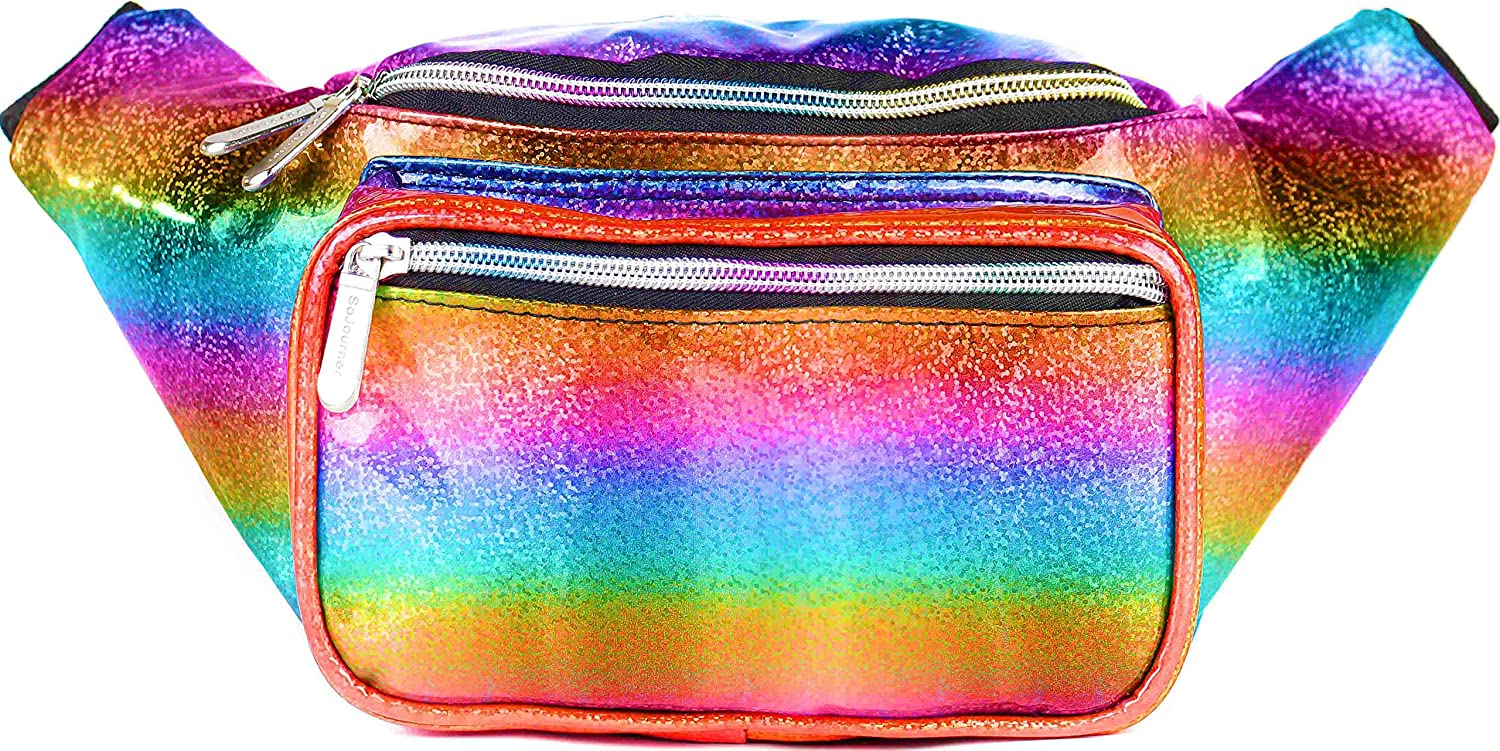 SoJourner Holographic Rave Fanny Pack - Packs for festival women, men | Cute Fashion Waist Bag Belt Bags (Luminous Pink & Blue) A-22