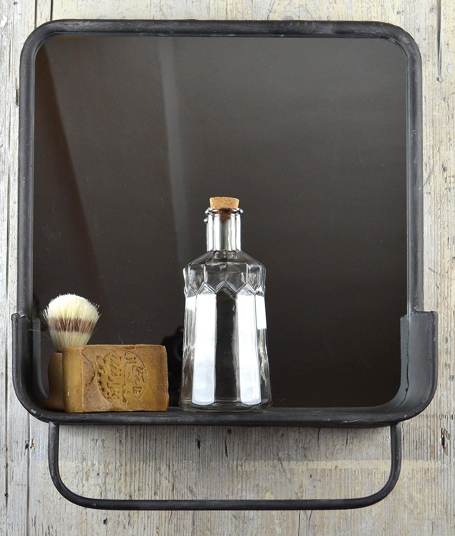 Garderoben Regal im Retro Look Badespiegel mit Handtuchhalter im Industrie Stil Regal mit Spiegel im Vintage Chic