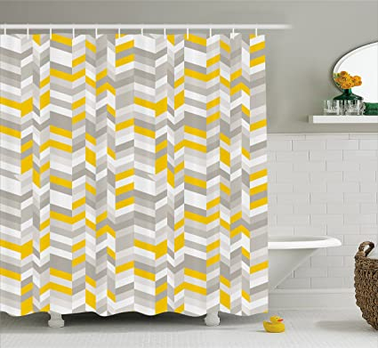 Ambesonne Grey And Yellow Shower Curtain Geometric Vintage 60s Home Pattern Inspired Herringbone Zig Zag