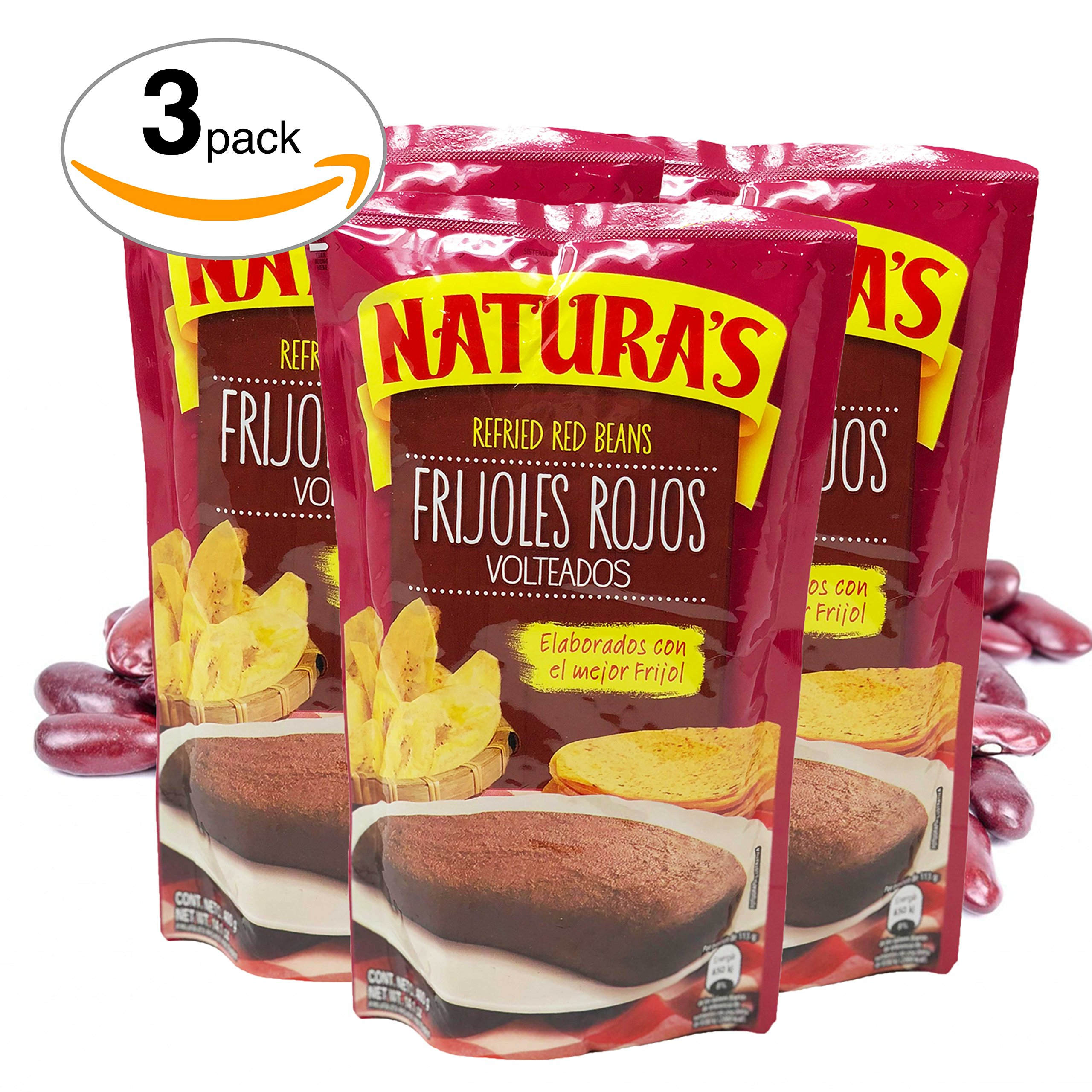 Naturas Refried Red Kidney Beans. Frijoles Rojos Volteados | 100% Plant Based | Ready To Serve| Made With Ground Beans of Beans|No Preservative,No Artificial Colors|100% Natural(800g,28.2 oz)3pack by NATURA'S