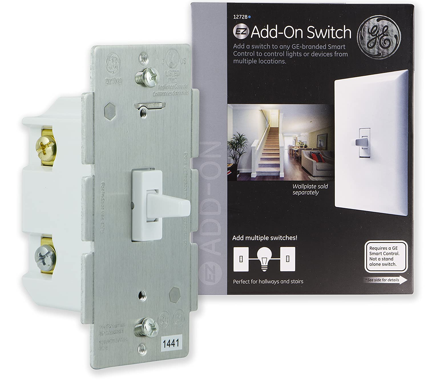 Ge Add On Toggle Style Switch Only For Z Wave Zigbee And Four Way Wiring Diagram With Load Mid Run Bluetooth Wireless Smart Lighting Controls White Not A Standalone 12728