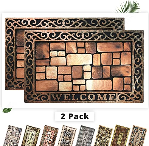EZHOMEE Outdoor Rubber Welcome Door Mat 29.5 x17.7