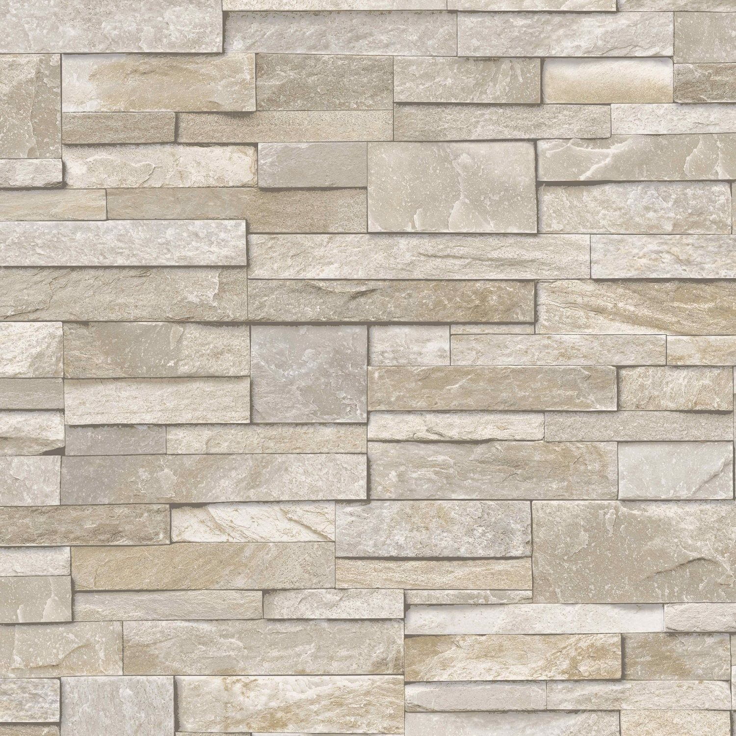 3D Slate Stone Brick Effect Wallpaper Washable Vinyl Natural Grey Grandeco EXPSFD013114