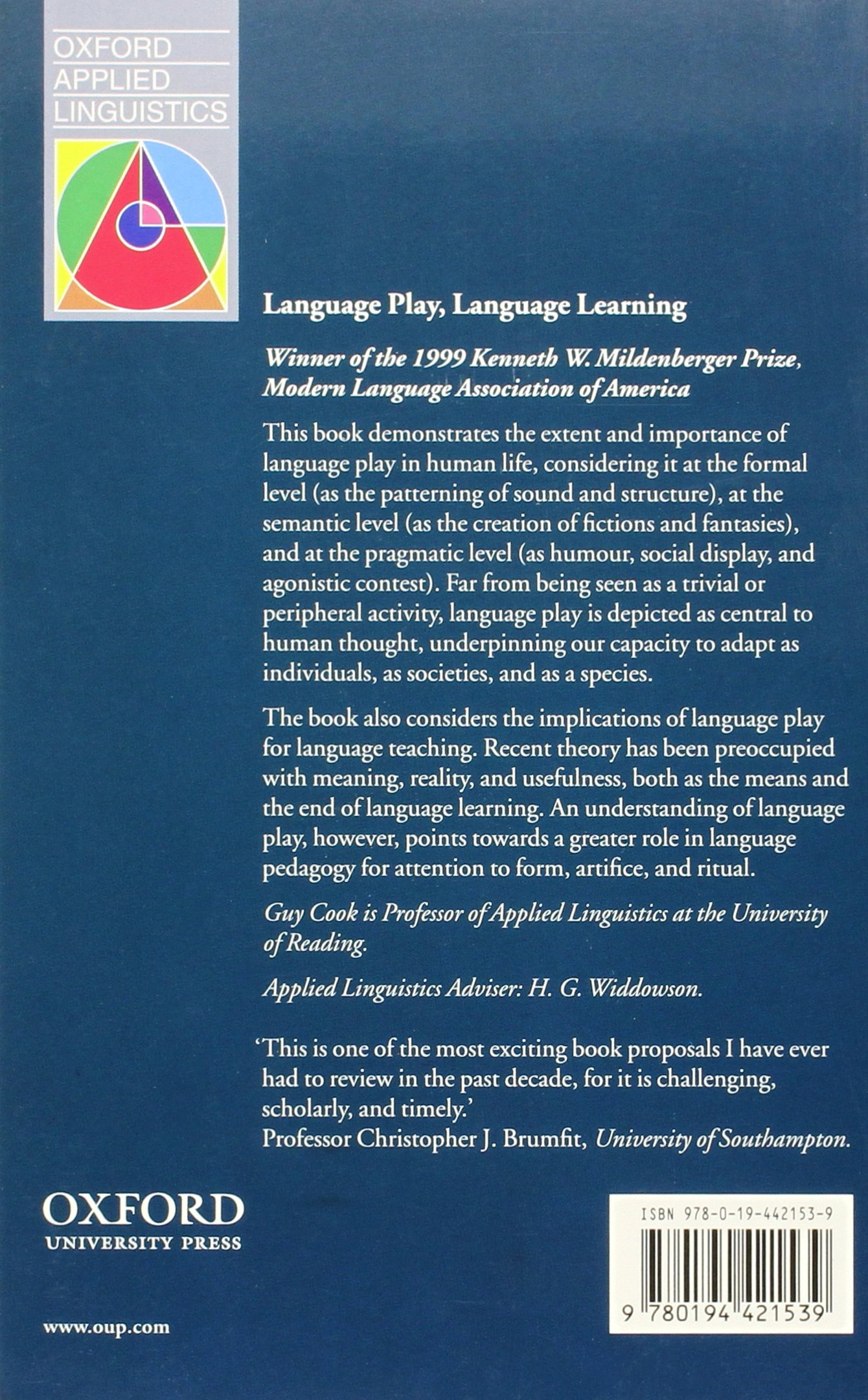 Language Play, Language Learning (Oxford Applied Linguistics) by Oxford University Press