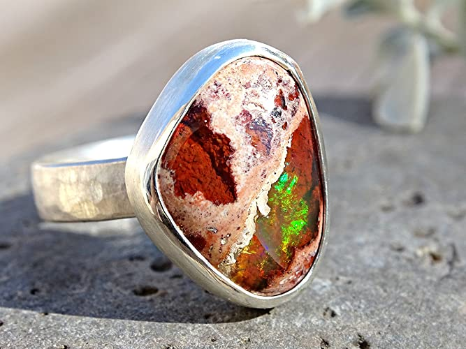 Amazoncom raw fire opal ring silver ring opal raw opal ring for