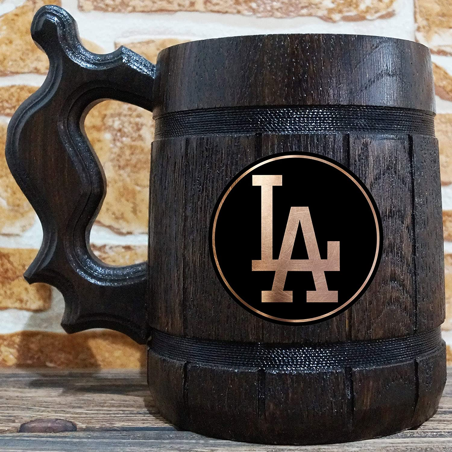 Beer Stein Los Angeles Dodgers Tankard Baseball Wooden Beer Stein Gift for Men Sport Gift Los Angeles Dodgers Beer Mug Gift for Him