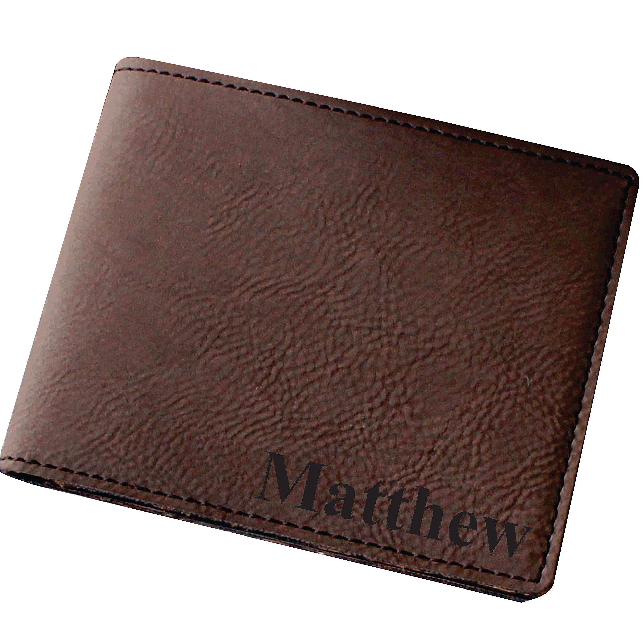 Customized Brown Leather Bi-Fold Men's Leather Wallet - Personalized Engraved Monogrammed Wedding Groomsman Fathers Day Gift