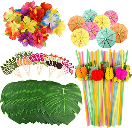 El paquete incluye: 30 PCS tropicales artificiales Leaves + 30 PCS slik Hawaiian flowers + 50 PCS pa