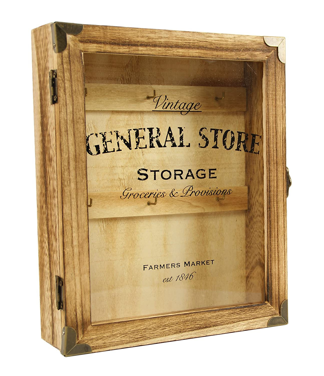 Vintage Style Wooden Key Box Cabinet Wall Hanging Or Free Standing ...