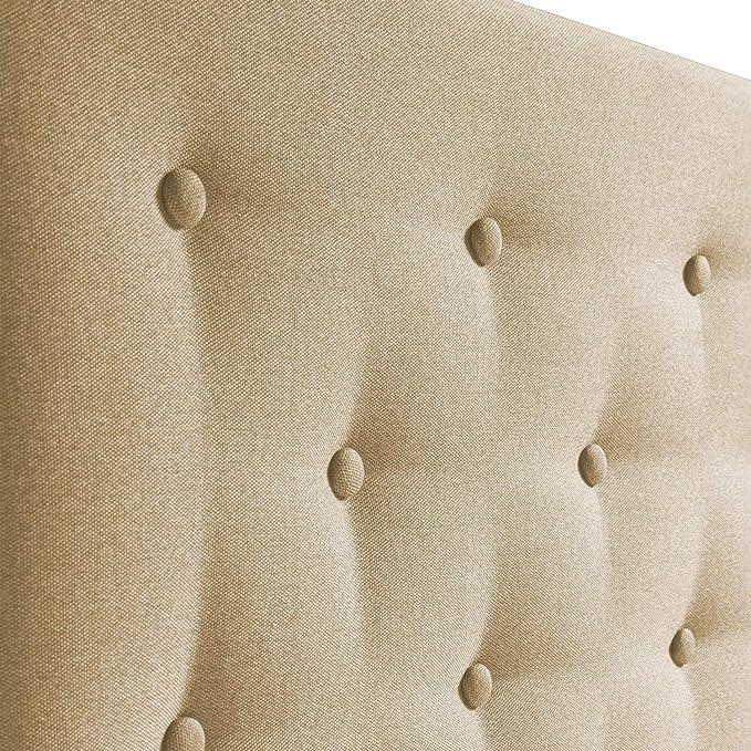 marckonfort Cabecero tapizado Oslo 150X100, capitone en Tela Beige Tostado, Grosor de 8 cm