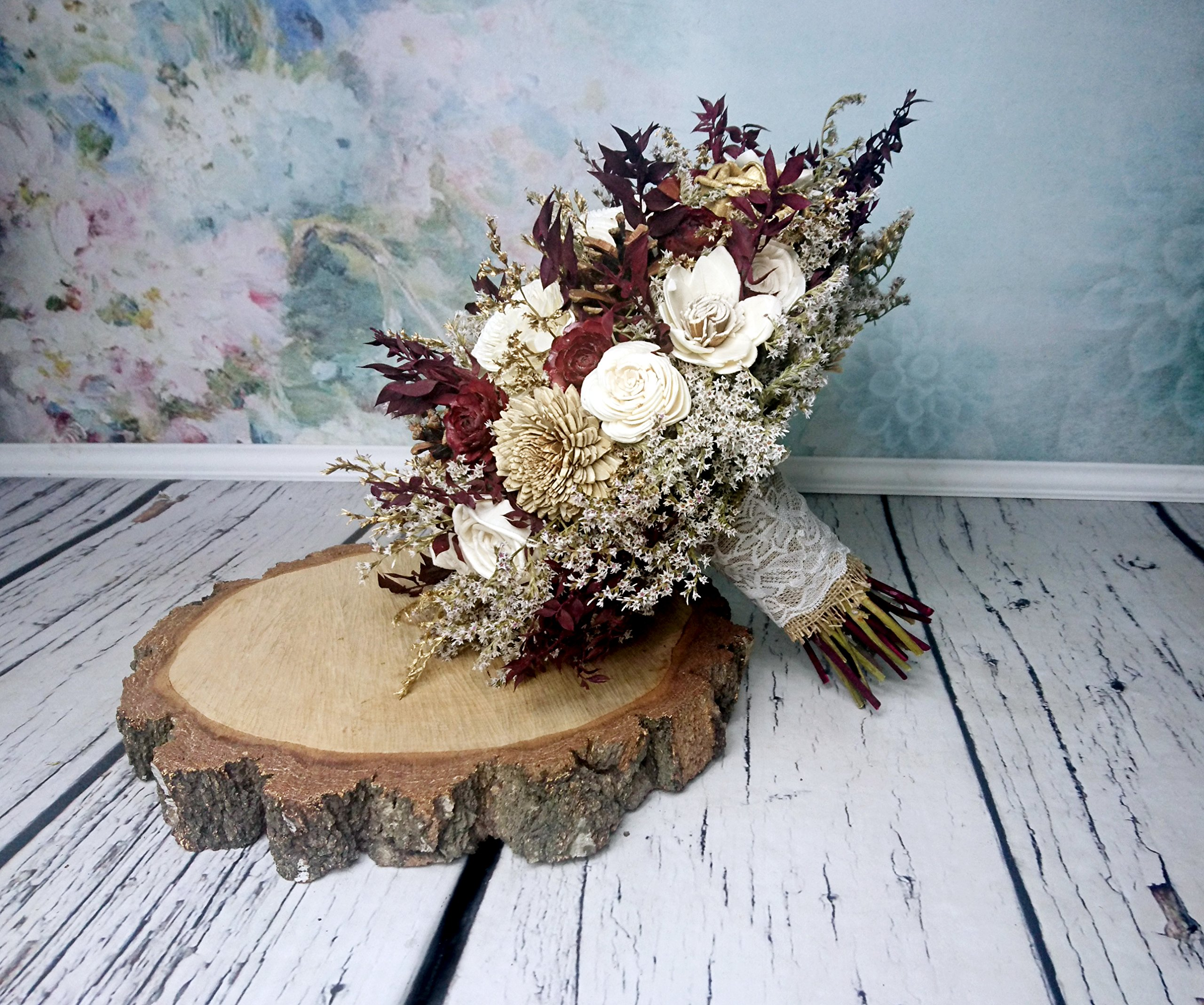 Bridal Bouquet Ivory Brown Burgundy Gold Pine Cone Sola Flowers Rustic Woodland Autumn Winter Wedding by MKedraWedding