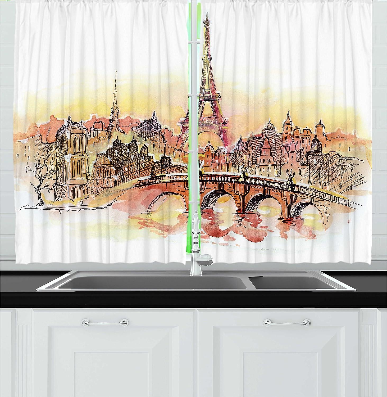 Ambesonne Eiffel Tower Kitchen Curtains France Theme Design Urban Decor Sunset In Paris Illustration Print Window Drapes 2 Panels Set For Kitchen