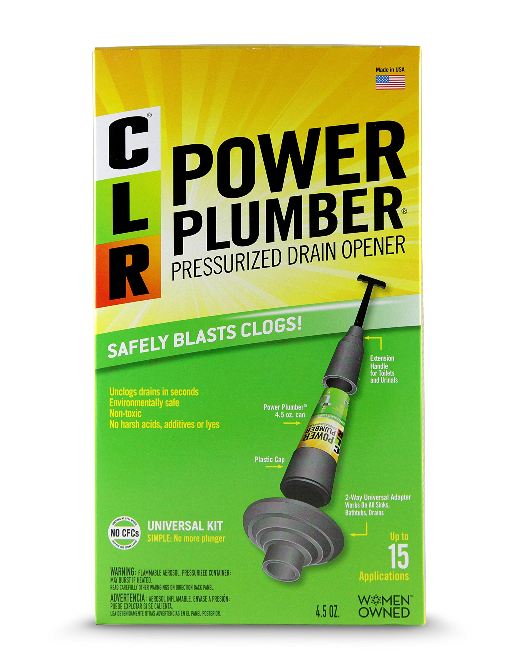CLR Power Plumber Pressurized Drain Opener Plunger Kit, 4.5-Ounce Can