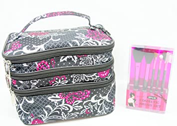 906590e11dd1 Hot Pink   Black Butterfly on Paisley 3 Tiered Zippered Cosmetic Travel Bag  With Mirror