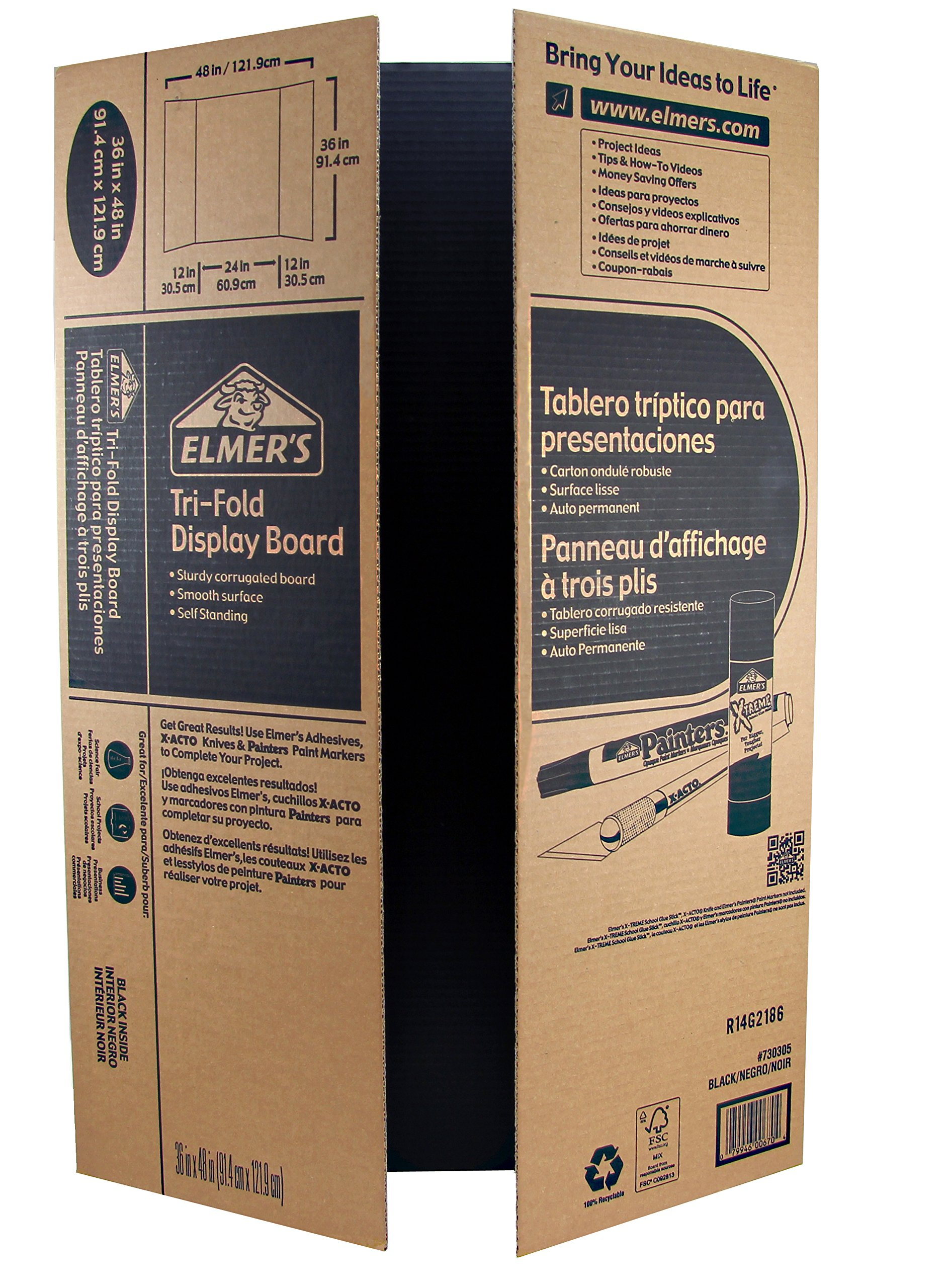 Elmer's Corrugated Tri-Fold Display Boards, 36 x 48 Inches, 1-Ply, Black Inside/Kraft Outside, 6-Count (J730305)