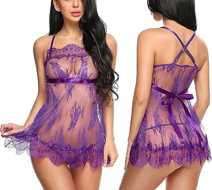 Avidlove Mujeres Pijama Ropa Interior de Encaje Conjunto Halter Correa Camisa(Púrpura XXL): Amazon.es: Ropa y accesorios
