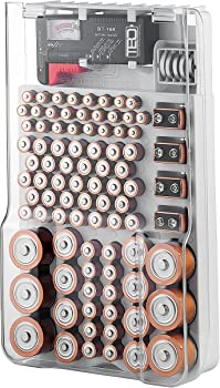Battery Organizer 93-Battery Storage Case with Hinged Clear Cover