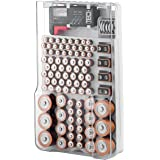 The Battery Organizer Storage Case with Hinged Clear Cover, Includes a Removable Battery Tester, Holds 93 Batteries…