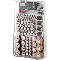 The Battery Organizer Caja de Almacenamiento con Cubierta Transparente, Incluye una probador de batería extraíble, sostiene 93Pilas de Varios Tamaños