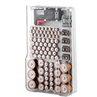 The Battery Organizer - Estuche de Almacenamiento con bisagras (Transparente)