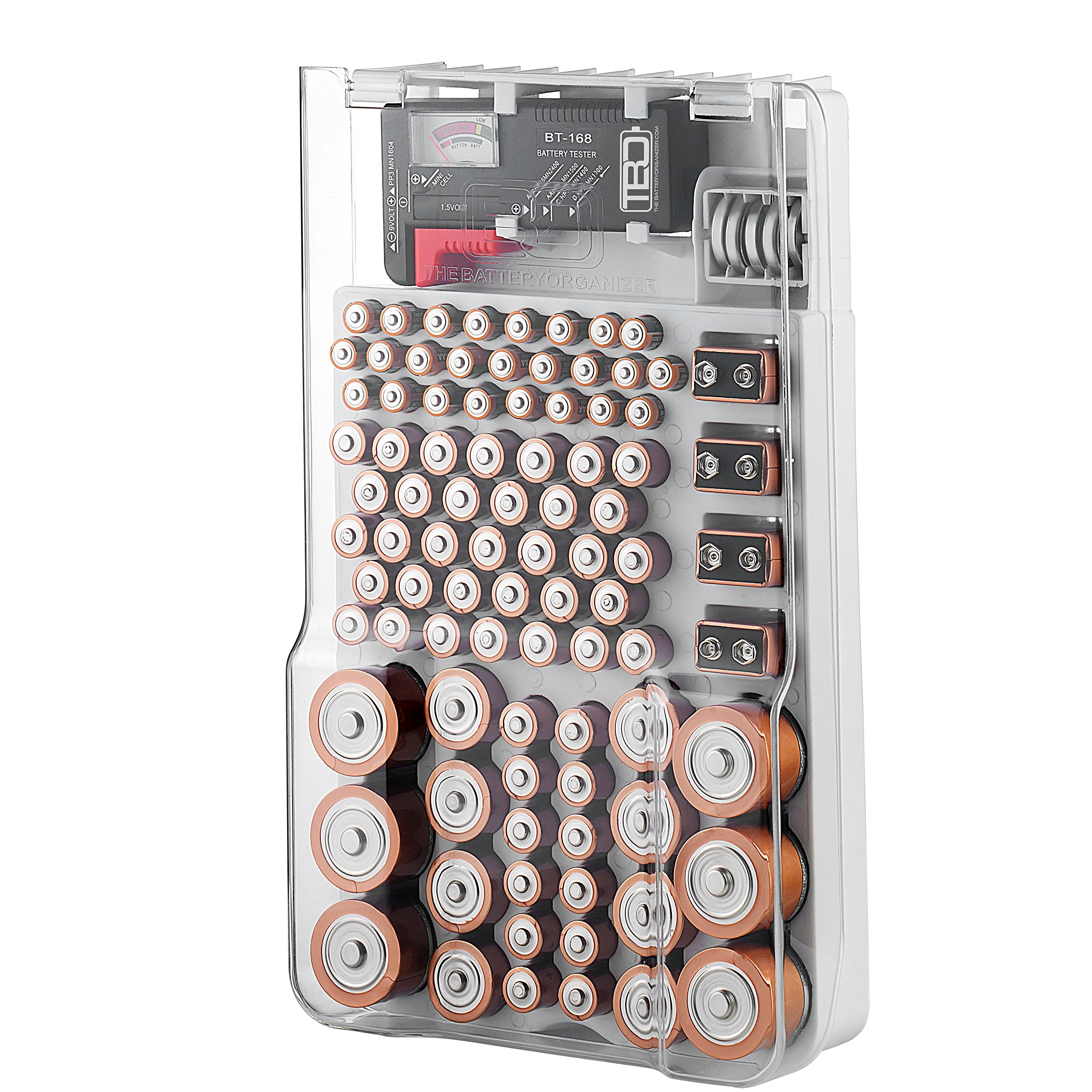The Battery Organizer Storage Case with Hinged Clear Cover, Includes a Removable Battery Tester, Holds 93 Batteries Various Sizes by The Battery Organizer