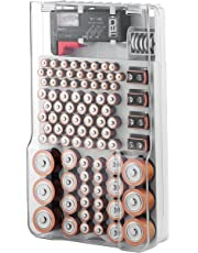 The Battery Organizer TBO1531 The Batt Storage Case with Hinged Clear Cover, Includes a Removable Tester, Holds 93 Batteries Various Sizes