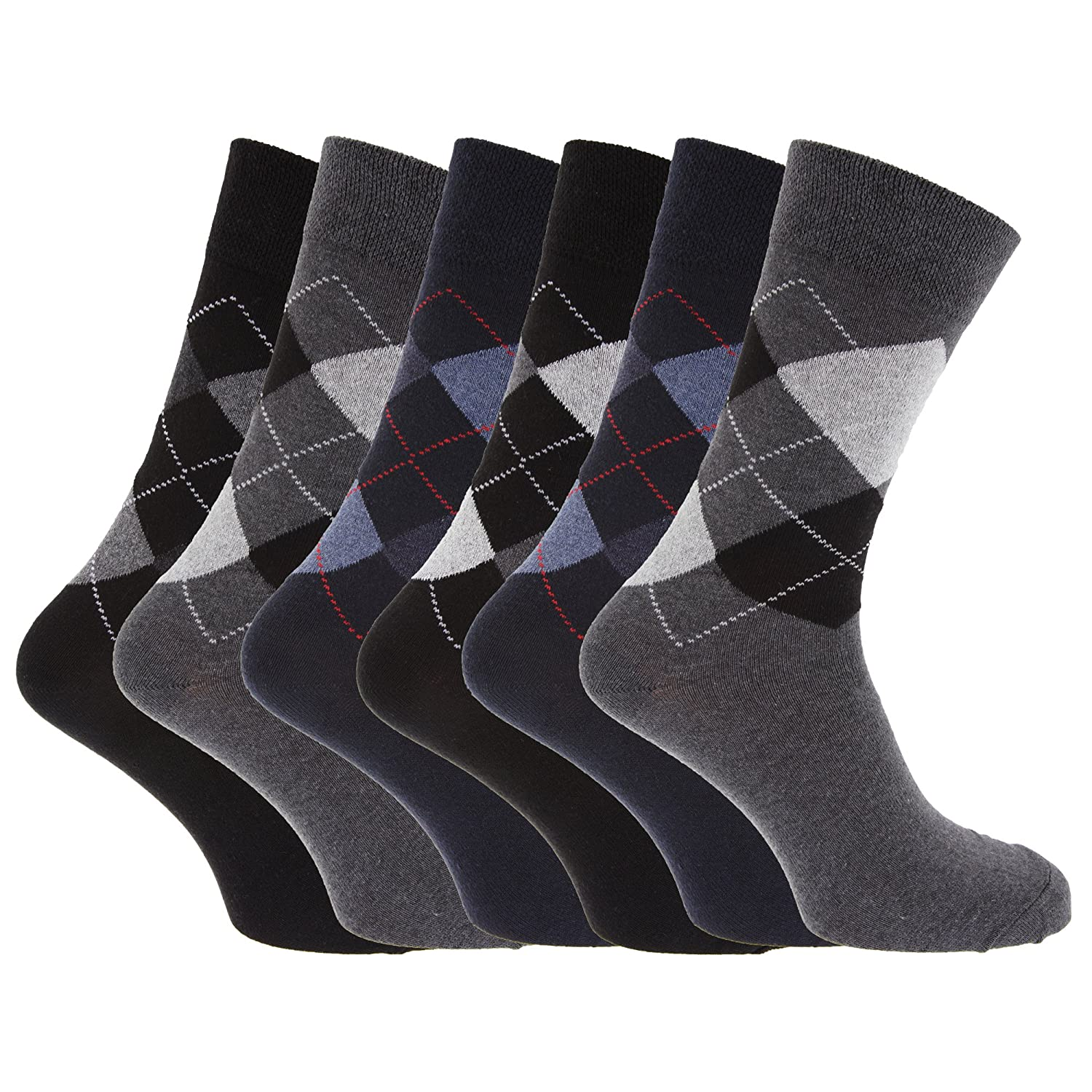 Mens Pattern Cotton Blend Argyle Socks (Pack Of 6) Universal Textiles UTMB150_5
