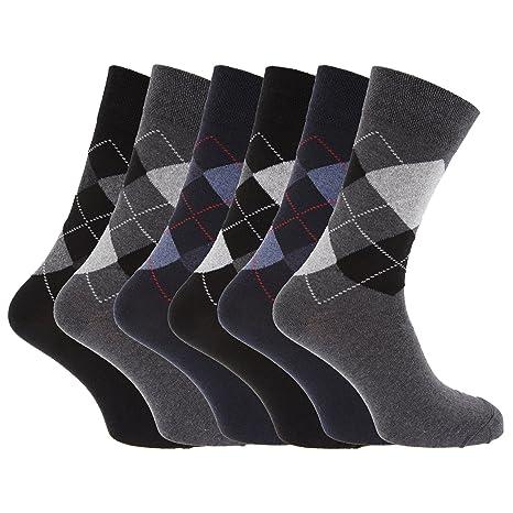 Calcetines con estampado de rombos mezcla de materiales (Pack de 6 pares de calcetines): Amazon.es: Ropa y accesorios