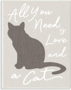 Stupell Industries All You Need is Love and a Cat Wall Plaque Art, Proudly Made in USA